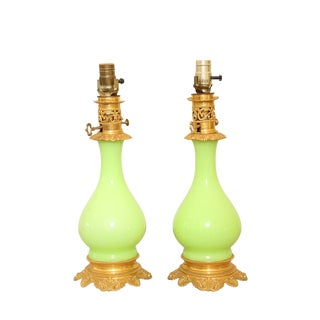 Pair of 19th Century, French, Lime-Green, Opaline Lamps For Sale