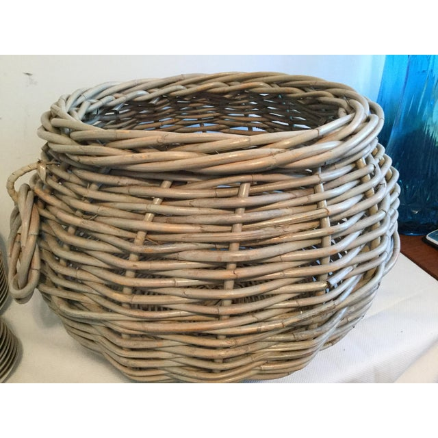 "Large decorative basket with handles. 17"" wide, 15"" deep, girth 67"". Use for storage or decoration. A very lovely piece."