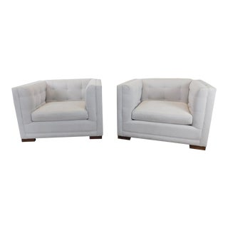 1990s Vintage Crate & Barrel Tufted Upholstered Cube Chairs - a Pair For Sale