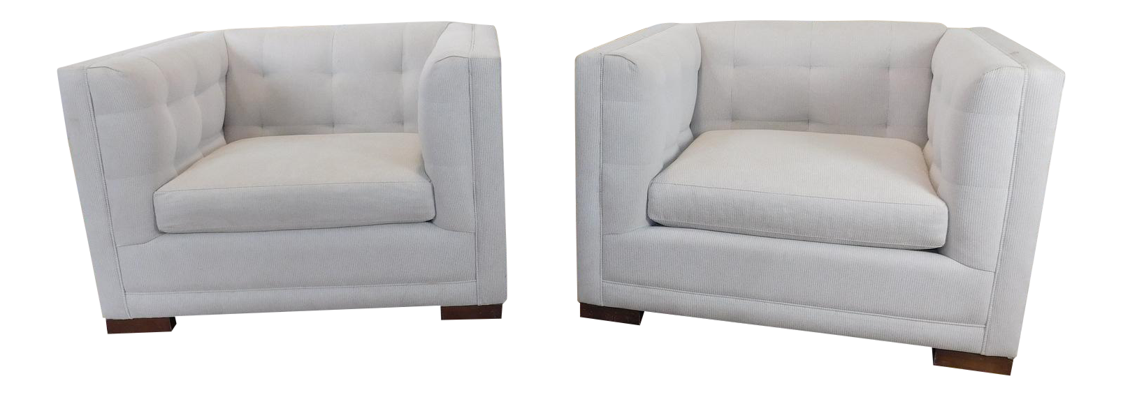 Crate U0026 Barrel Tufted Upholstered Cube Chairs   A Pair For Sale
