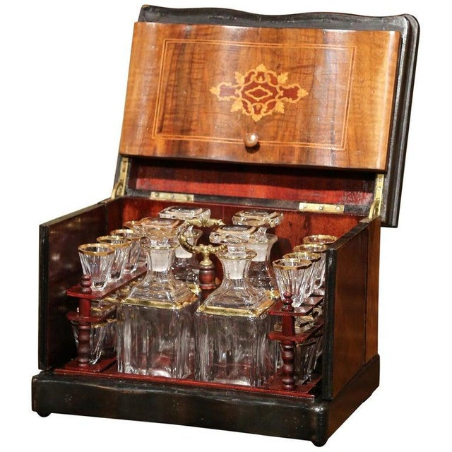 19th Century French Napoleon III Walnut Cave a Liqueur With Inlay Marquetry For Sale - Image 12 of 12