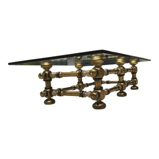 Mid-Century Modern Spanish Revival Coffee Table Large Rectangular Glass Top For Sale