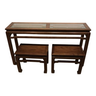 1970s Ming Style Century Furniture Console Table With Matching Stools - 3 Pieces For Sale