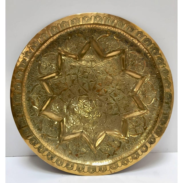 Gold Middle Eastern Persian Antique Round Brass Tray For Sale - Image 8 of 8