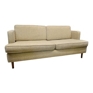 Mid-Century Modern Beige Upholstered Sofa For Sale