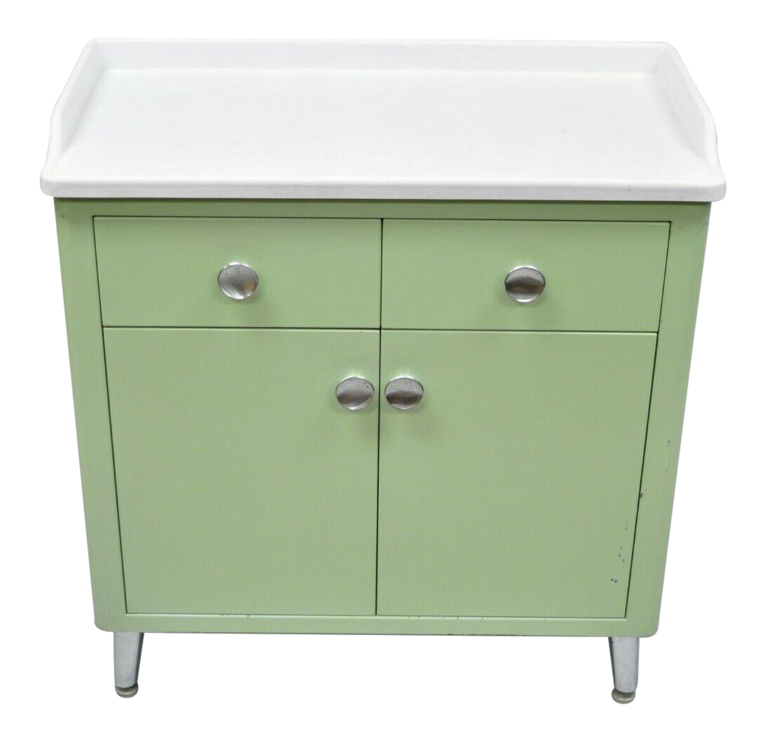 Early 20th Century Antique Mint Green Metal Dental Cabinet By United Metal  For Sale