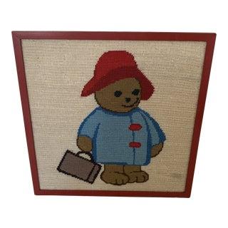 1990s Framed Needlepoint Paddington Bear For Sale