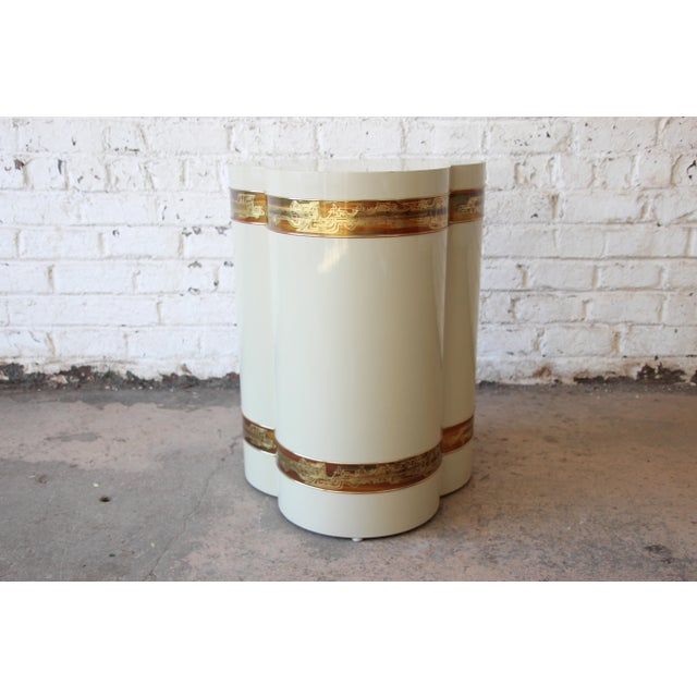 Metal Bernhard Rohne for Mastercraft Acid Etched Brass Cream Lacquered Pedestal Dining Table For Sale - Image 7 of 13