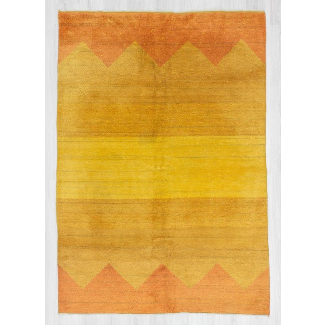 Decorative Yellow Safraan Turkish Gabbeh Rug - 5′6″ × 8′1″ - Image 2 of 6