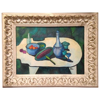 Mid-Century Watercolor Tablescape Still Life