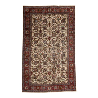 Vintage Tabriz Persian Rug with Modern Style and Cream Field For Sale
