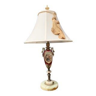 Early 20th Century Neoclassical Ceramic Ly Painted Lamp For Sale