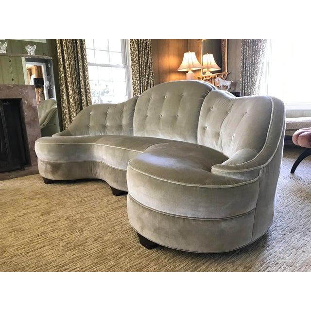 Dunbar Furniture Vintage Dunbar Sofa Model 2173-A Attributied Elsa Schiaparelli Art Deco Curved Sofas - a Pair For Sale - Image 4 of 13