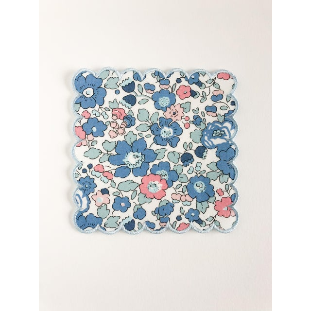 Set of FOUR 5 in. x 5 in. Liberty of London Betsy Blue with Baby Blue Trim. These cocktail napkins are a wonderful, fun,...