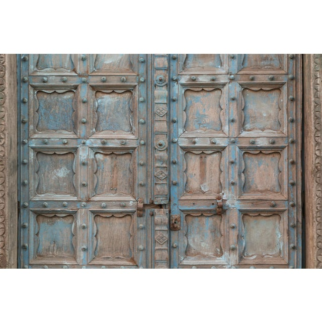 Boho Chic Great Imposing Krishna Painted Indian Door For Sale - Image 3 of 8