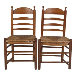 Pair of Small French Country-Style Ladder Back Chairs For Sale