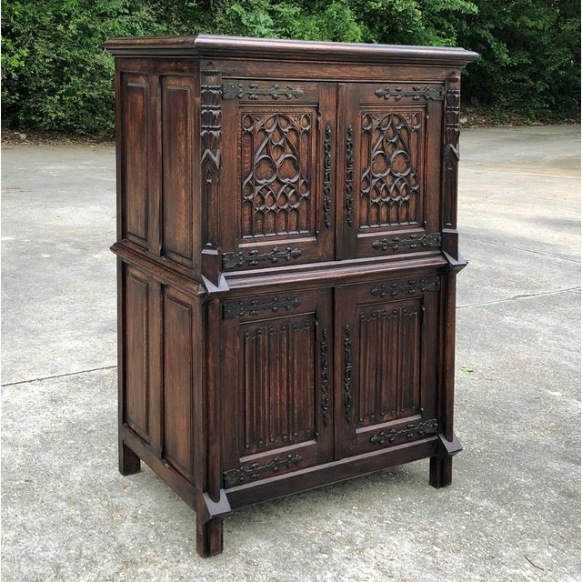 Antique French Gothic Cabinet is perfect for extra storage, mud rooms, kids' rooms ~ anywhere a handsome, durable and...