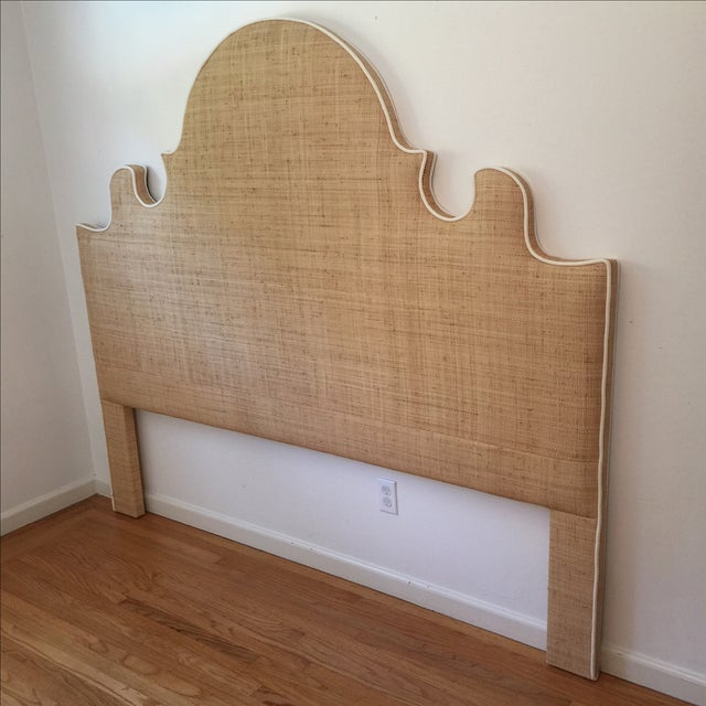 Asian Raffia Cal-King Headboard with White Piping For Sale - Image 3 of 6