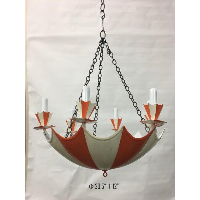 Vintage Upside-Down French Umbrella 6-Light Chandelier For Sale - Image 4 of 4