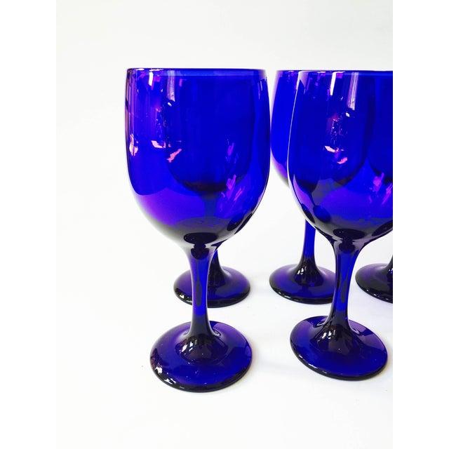 Vintage Cobalt Blue Wine Glasses - Set of 8 - Image 4 of 5
