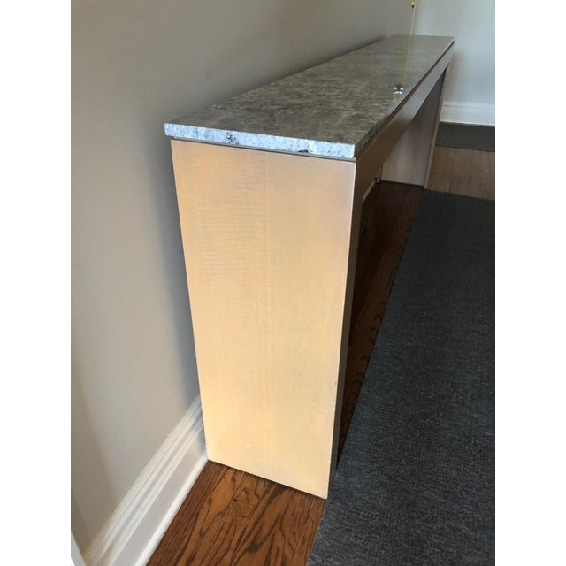 Contemporary Contemporary Long & Narrow Sleek Birch and Marble Console Table For Sale - Image 3 of 13