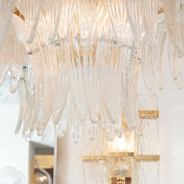Mid-Century Modern 1960s Murano Glass Tiered Palmette Fixture For Sale - Image 3 of 5