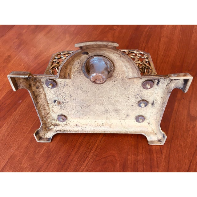 English Antique Brass Letter Holder With Inkwell For Sale - Image 3 of 7