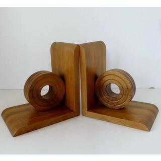 Vintage Oak Wood Bookends, a Pair Preview