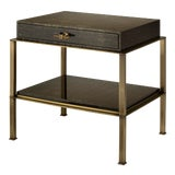 Image of Gambrel Nightstand Brass in Brown / Gold Texture - Steven Gambrel for The Lacquer Company For Sale