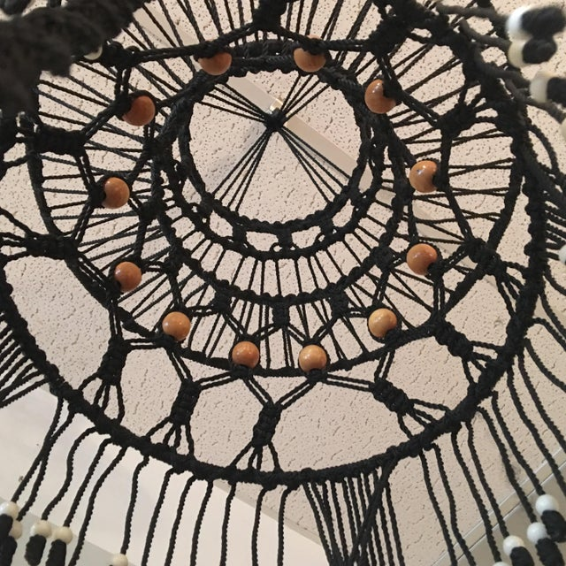 Vintage Bohemian Beaded Macrame Hanging w/ Baskets - Image 5 of 11