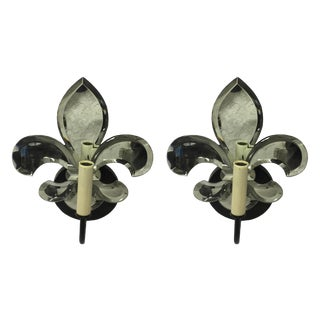 Fleur de Lis Mirrored Sconces - a Pair For Sale