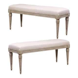 Pair of 19th Century French Louis XVI Carved Grey Painted Upholstered Benches For Sale
