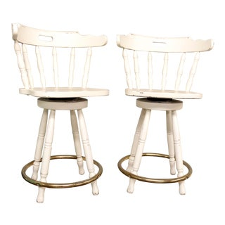 1960s Cottage White Rustic Bar Chair Stools - a Pair