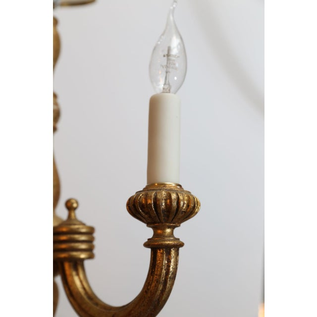 1940s Italian Giltwood Chandelier For Sale - Image 5 of 7