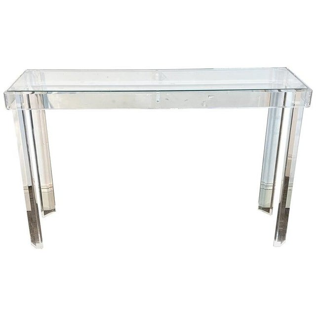 Sleek Modern Lucite and Glass Console For Sale - Image 11 of 11