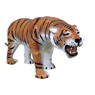 "Extra Large 45"" Leather Tiger Figure For Sale"