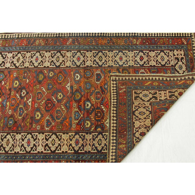 Antique Persian Rug Shirvan Design With Dainty Heart-Shaped Patterns Circa 1930's - 4′2″ × 9′8″ For Sale - Image 10 of 12