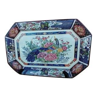 Early 20th Century Porcelain Imari Asian Peacocks 8 Sided Serving Platter For Sale
