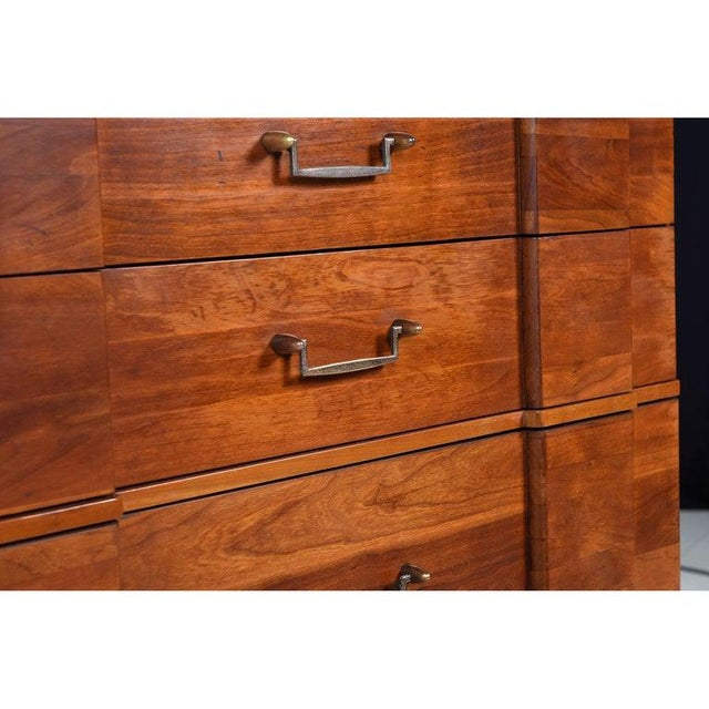 Campaign Hickory Manufacturing Vintage Cherry High Boy Dresser With Brass Handles For Sale - Image 3 of 8