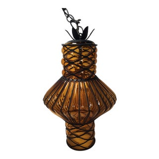 Murano Amber Glass Black Iron Caged Pendant Light For Sale