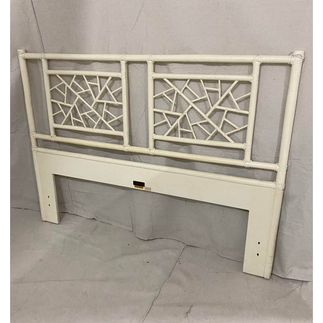 """Boho Chic Vintage McGuire Full Size """"Cracked Ice"""" Rattan Headboard For Sale - Image 3 of 10"""