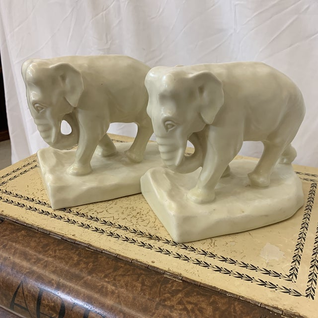 1920s White Rookwood Elephant Book Ends For Sale - Image 5 of 11