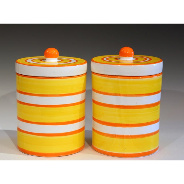 Italian Pottery Stripes Vintage Raymor Canisters - a Pair For Sale - Image 12 of 12