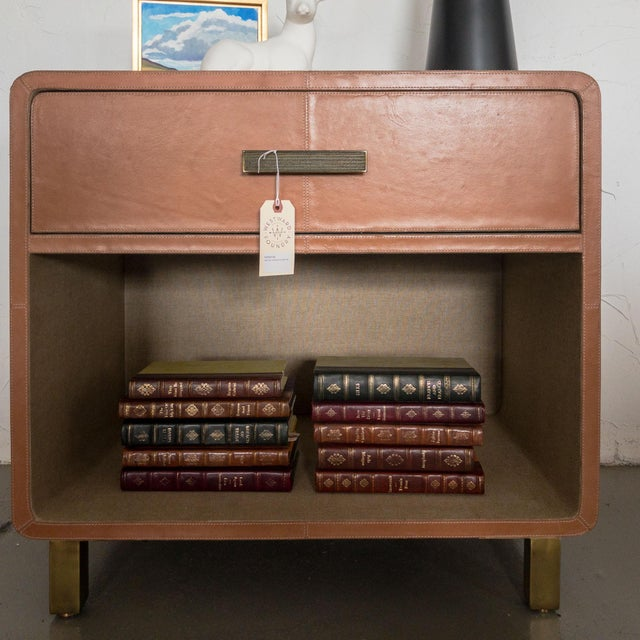 Made Goods Dante Double Nightstand in Aged Camel Leather For Sale In Denver - Image 6 of 13