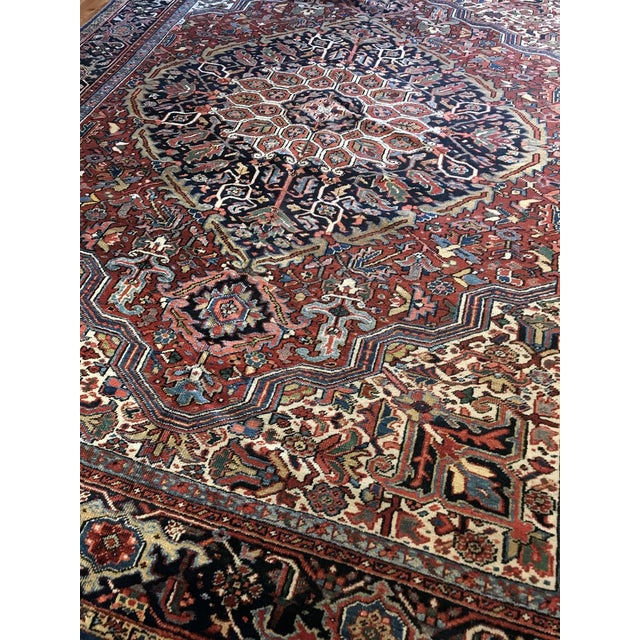 Late 19th Century Antique Persian Heriz Rug - 8′10″ × 11′7″ For Sale - Image 5 of 7