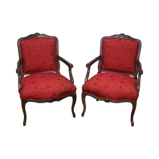 French Louis XV Style Fauteuils Arm Chairs - A Pair