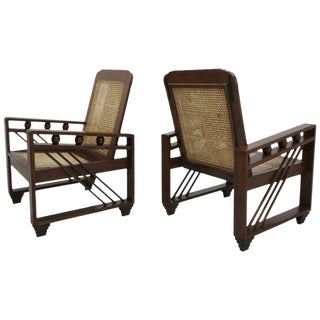 Antique French Art Deco Solid Wood Lounge Chairs With Cane Backs & Seats - a Pair