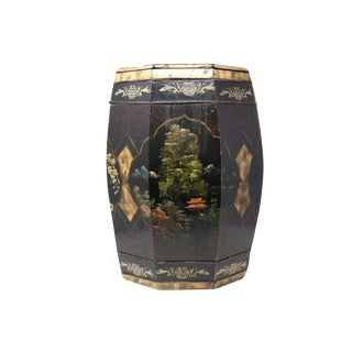 Antique Hand-Painted Chinese Rice Barrel