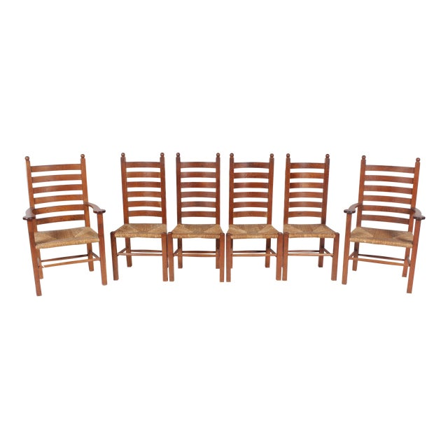 1930s Mission-Style Dining Chairs - Set of 6 - Image 1 of 11