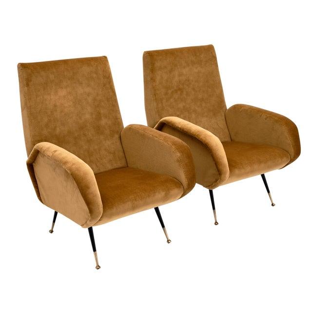Gold Velvet Vintage Italian Armchairs For Sale - Image 10 of 10